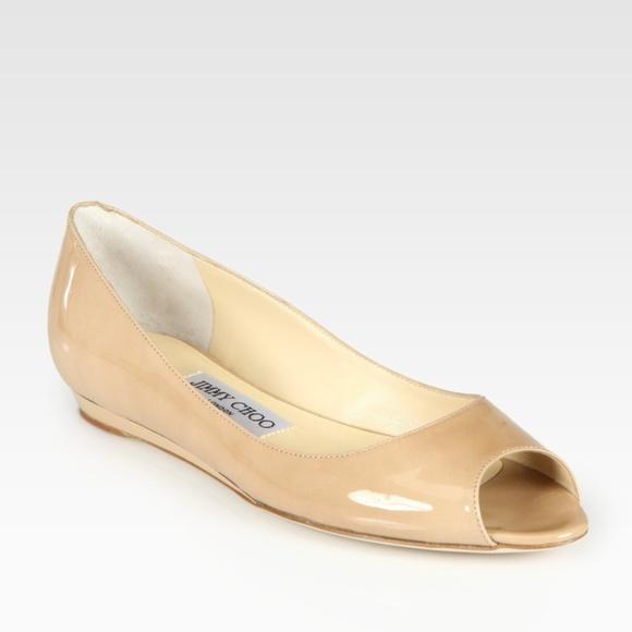f7d1006a0148 Jimmy Choo Beck Nude Patent Leather Peep Toe Flats.  M 5a810e773316277571f94ac2